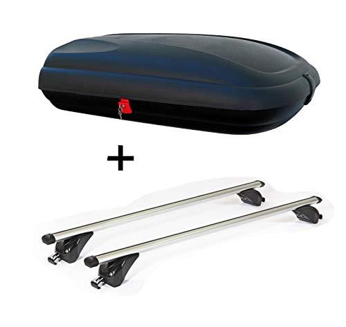 VDP Dachbox VDPBA320 320Ltr carbonlook abschließbar + Dachträger/Relingträger KING1 kompatibel mit Opel/Vauxhall Astra (J) Sport Tourer (5 Türer) 11-16