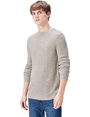 FIND Pullover Herren melierter Grobstrick runder Ausschnitt Grau (Lt.Grey Twist)