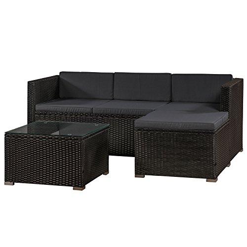 ArtLife Polyrattan Lounge Punta Cana M für 3-4 Personen mit Tisch in schwarz mit Bezügen in Dunkelgrau | Gartenmöbel Sitzgruppe
