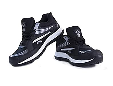 BEEROCK Men's AIR Black Synthetic Leather Sports/Running Shoes Size 10