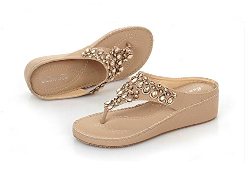 Femmes sandales boho chaussures chaussures strass apricot