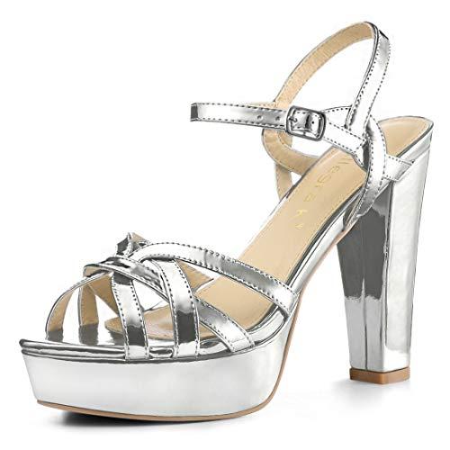 Allegra K Damen Peep Toe Metalic Slingback High Heels Sandalen Silber 38 EU/Label Size 7.5 US -