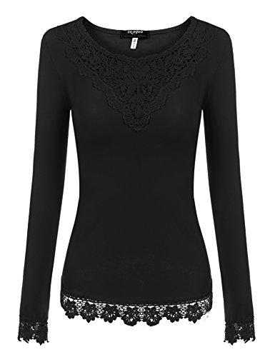 394d3096d1b3 Zum Angebot · Zeagoo Damen T-Shirt Tops mit Spitze Langarmshirt  Spitzenshirt Bluse Hemd Shirt Oberteil