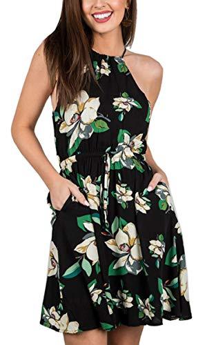 SPec4Y Sommerkleid Damen Neckholder Blumenmuster Strand Swing Kleid Schwarz M Neckholder Swing