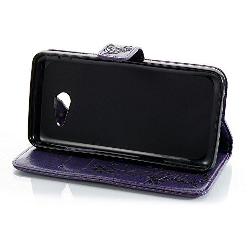 EKINHUI Case Cover Horizontale Folio Flip Stand Muster PU Leder Geldbörse Tasche Tasche mit geprägten Blumen & Lanyard & Card Slots für Samsung Galaxy J5 2017 American Edition ( Color : Darkblue ) Purple