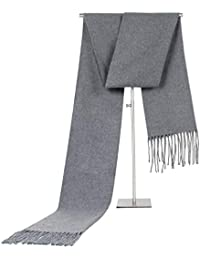 Beydodo Bufanda de Cachemira Bufanda Borgoña Bufanda de Color Sólido Borlas 180x35CM Bufanda de Mujer Bufanda