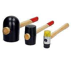 ECD Germany Gummihammer Set 3tlg. 1x Gummihammer 400g 1x Gummihammer 1250g 1x Ausbeulhammer mit auswechselbaren Schlagflächen 350g Schonhammer Hammer mit stabilem Holzstiel