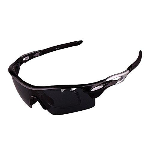 Ombrelloni sportivi occhiali da sole sportivi polarizzati tr90 con lenti intercambiabili da 3 pezzi per uomo donna occhiali da motociclista (colore : nero)
