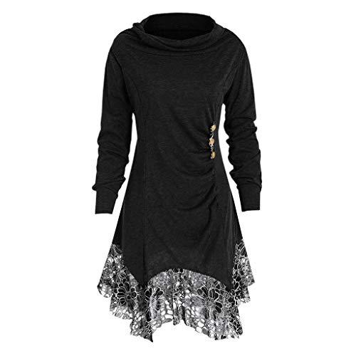 3a671c3a747ae8 Damen Tops Plus Size Rovinci Herbst Elegante Damen Langarm T-Shirt  Einfarbig Wasserfallausschnitt.
