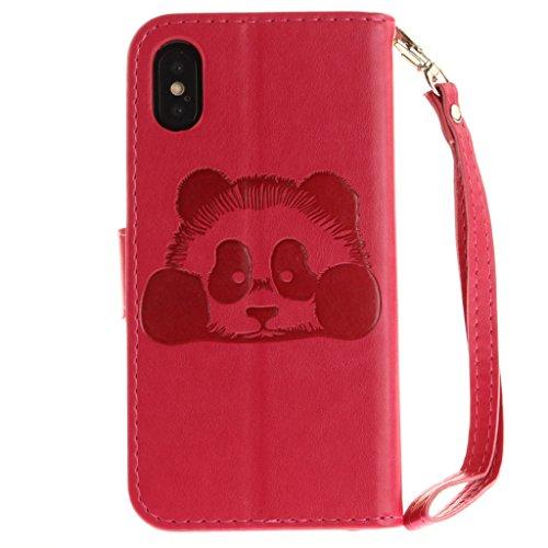 Custodia per Apple iPhone X , IJIA Puro Marrone Panda Goffratura TPU + PU Pelle Silicone Gel Slot Case per portafoglio Fessura per carta di credito Cover Book Flip Stile Classico Vintage Style Caso pe Rose