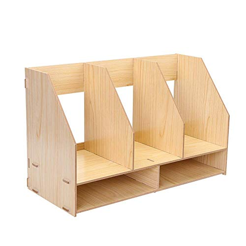 DX Gaoxu Schreibtischzubehör Organisatoren Desktop Aufbewahrungsbox Holz Einfache Büro Regal Aktenhalter Tischregal (3 Farben, 2 Stile) (Farbe: Weiß Ahorn, Größe: 49 \u0026 Times; 21 \u0026 Tim -