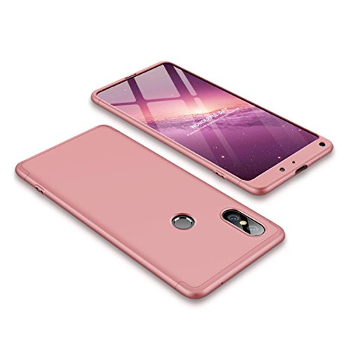 EUDTH Funda Xiaomi Mi Mix 2S, Carcasa Ultra Slim 3 en 1 Estuche Duro Matte Caso para Xiaomi Mi Mix 2S 360 Grados Protección Absorción de Choque Funda - Oro Rosa