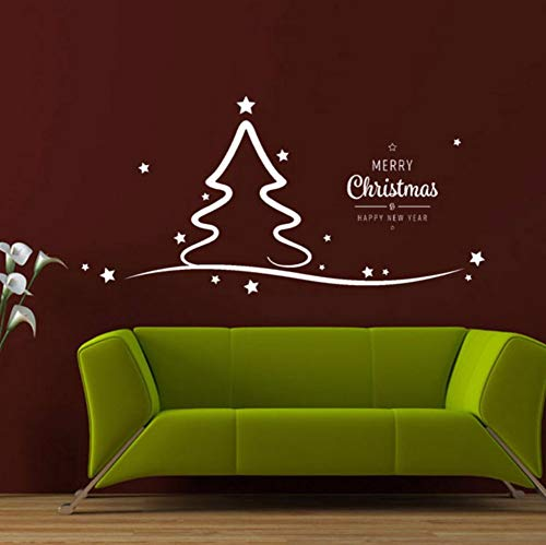 Mgdtt Frohe Weihnachten Wandtattoo Weihnachtsbaum Vinyl Dekor Holiday Home Decor Weihnachten Schaufensterdeko Diy Wandbilder   58X29Cm