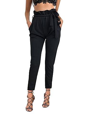 ISASSY Pantalons Femme Skinny Taille Haute Stretch Slim Crayon Pantalon Avec Ceinture Noir S(UK6)/(EU36)