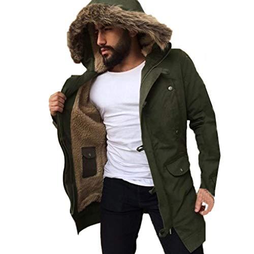 Giacche a vento da uomo, rcool giacca invernale da uomo maniche lunghe cappotto caldo cappotti con cappuccio tinta unita casuale parka giubbotto con pulsante,