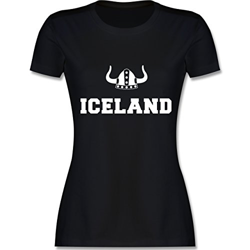 Shirtracer Länder - Iceland + Wikingerhelm - Damen T-Shirt Rundhals Schwarz