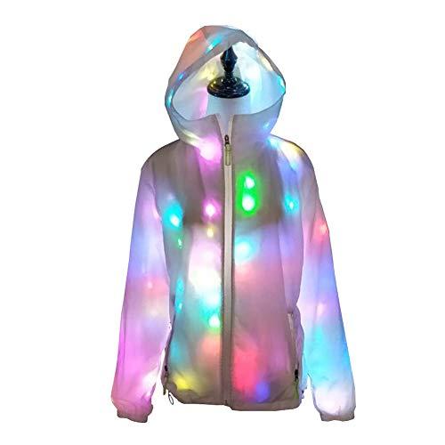 Byjia Frauen Hoodie Flashing LED Jacke, Für Dance Halloween Party Coat,White,M (Halloween Professionelle Requisiten)