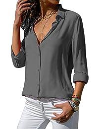 6d16bfaf03ff laamei Chemisier Femme Manches Longues Tunique Col V Mousseline Top Blouse  Mode Couleur Unie