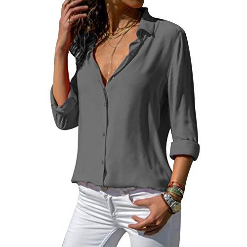 laamei Chemisier Femme Manches Longues Tunique Col V Mousseline Top Blouse Mode Couleur U