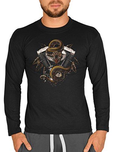 Herren Langarm T-Shirt USA Biker Motiv Schlange V2 Motor Bike Langarmshirt für Biker Rock Longshirt für Männer Männershirt Laiberl Leiberl Schwarz