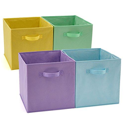 Ezoware cesto pieghevole, contenitore portaoggetti portabiancheria deposito per giocattoli, vestiti, dvd, libri, alimenti, lenzuole, e arte- confezione da 4 (33 x 38 x 33 cm) (colori assortiti)