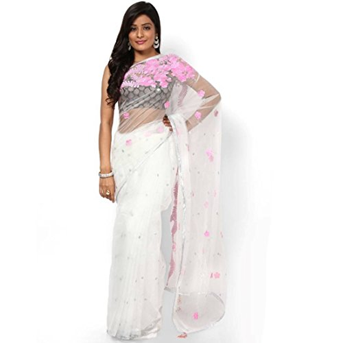 Party Designer Saree bollywood Net White Applique Work patch_work Party Traditional Sarees