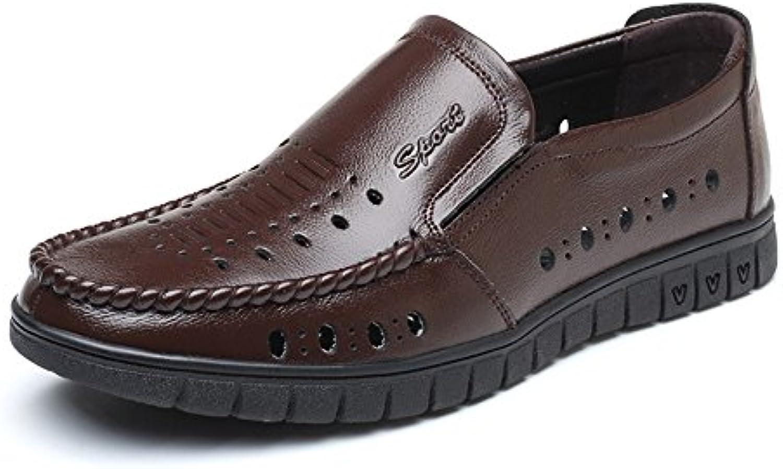 Ruanyi Leder Müßiggaumlnger Männer  Klassische Echte Lederschuhe Breathable Perforation Slip on Flache Sohle Loafer