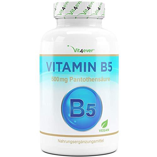 Vit4ever® Vitamin B5-500 mg - 180 Kapseln - Pantothensäure - Hochdosiert - Vegan - B Vitamin für Haut & Nerven - Premium Qualität
