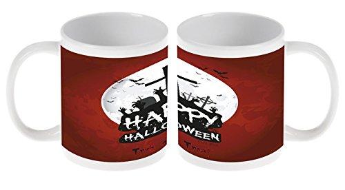 LEotiE SINCE 2004 Kaffetasse Tasse Kaffeebecher Becher Latte Cappuccino Espresso Retro Happy Halloween Keramik Durchmesser 80mm x Höhe 93mm - 300 ml Inhalt Bedruckt