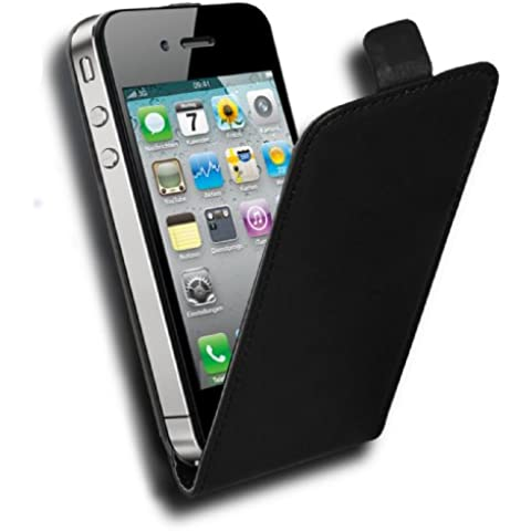 Cadorabo - Funda Flip Style para Apple iPhone 4 / 4S / 4G de Cuero Sintético Liso - Etui Case Cover Carcasa Caja Protección en