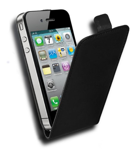 Cadorabo - Custodia Flip Style Design per Apple iPhone 4 / 4G / 4S Design Similpelle Fine - Etui Case Cover Involucro Bumper in LILA-ORCHIDEA NERO-CARBONE