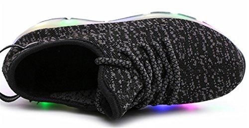 NEWZCERS Unisexe adulte enfant LED clignotant patins à roulettes chaussures sport fonctionnement formateurs sport roue chaussures Noir