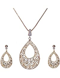 Pushti Gold Brass Pendant Set For Women (PF_010)
