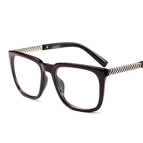 Retro Square Brillengestell, kann mit Myopie Brille für Frauen ausgestattet Werden Brille (Farbe : Wine red/Black)