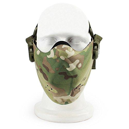 QMFIVE Taktische stahlmatten Masken h/älfte Gesichtsmaske schutzkleidung f/ür Airsoft Paintball Cosplay
