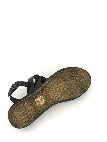 Sandali tacco basso in pelle artigianali made in italy cuoio MainApps Nero