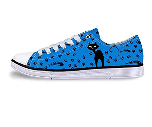Animal Low Top Canvas Shoes for Women's Fashion Casual Pug Casual Shoes Sneakers 8 Blue cat 10