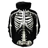 Xmiral Herren Kapuzenoberteil New 3D Printed Sanitary Skull Kleidung Langarm Pullover(S,B)