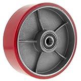 PrimeMatik QR95-VCES Rueda para transpaleta Rodillo de Poliuretano de 200x50 mm 950 Kg 2-Pack (QR95), Rojo
