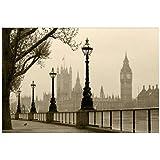 5D Murales Di Carta Nebbia Scenario Naturale London City Big Ben 3D Muro Foto Murali Per Camera Da Letto Sala Da Livrea 3D Murales-254Cm(H) X416Cm(W)