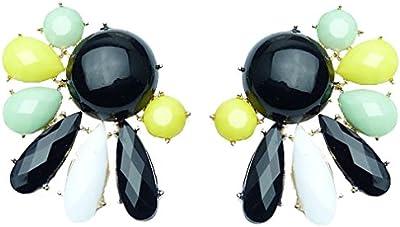 Pendientes Oro Yazilind plateado Negro Amarillo Verde Crystal Stud para la Mujer