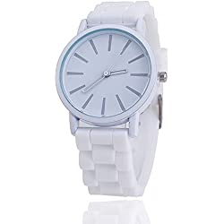 Ladies Watch Classic Gel Crystal Silicone Jelly watch (White + White Face)