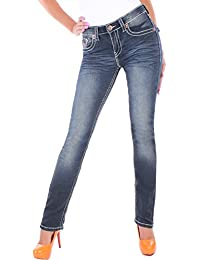BD Damen Straight Leg Jeans Jeanshose mit dicken Nähten in 4 Farben