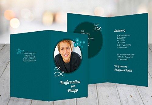 Kartenparadies Einladungskarte Konfirmation Star, hochwertige Einladung zur Konfirmationsfeier inklusive Umschläge | 10 Karten - (Format: 148x210 mm) Farbe: tuerkis