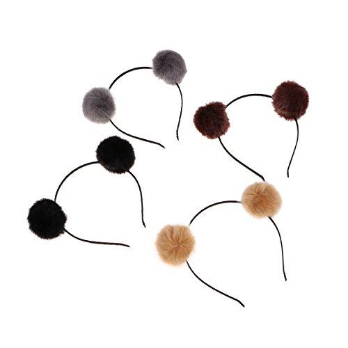 Frcolor Pelz Stirnband, Pom Pom Ball Katze Ohr Stirnband für Halloween Christmas Party Geburtstag Cosplay, 4 Stück