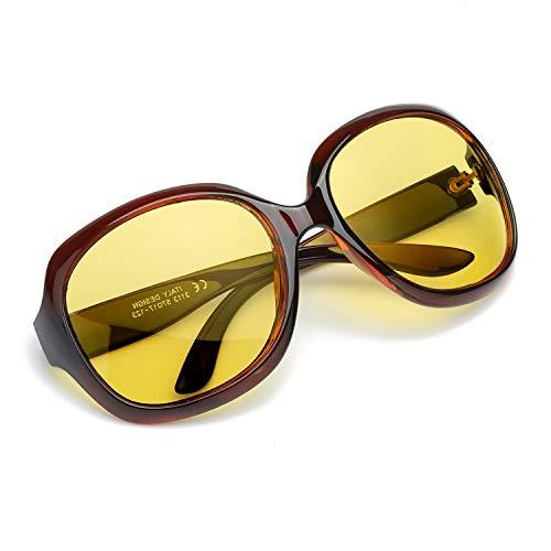 Myiaur Mode Gelben Nachtsichtbrille übergroßen Vintage Rund HD Sonnenbrille Autofahren für Damen mit Polarisierten Entspiegelten 100{4a30eb2fe935a18546afe5a4e7114f64c164b3db90d1b0632692b8e670897a0d} UVA UVB Schutz (Braun-2)