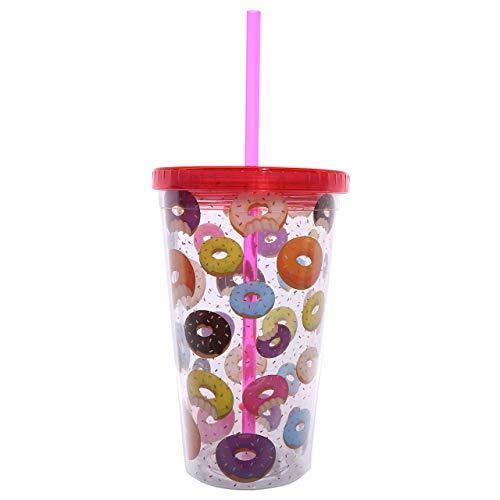 Puckator CUP09 Verre en Plastique avec Paille et Couvercle - Design Donut, Bleu/Rouge/Jaune/Violet/Orange/Brun/Transparent, 10 x 10 x 16 cm