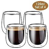 Glastal Tazza per caffè Espresso in Vetro Trasparente 120ml, Set di 4