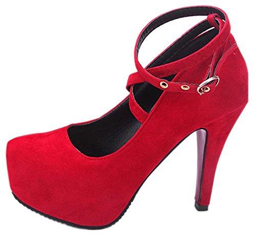 EOZY Chaussure à Talons Haut Aiguille à Lacet Femme Haut Plateau En Pu Cuir Suède Soirée Rouge