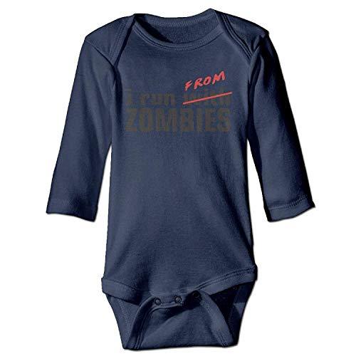 MSGDF Unisex Infant Bodysuits I Run from Zombies Apocalypse Girls Babysuit Long Sleeve Jumpsuit Sunsuit Outfit Navy